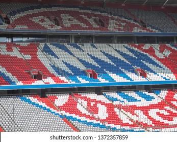 Munich ,Germany / Apr 15,2019 : Allianz Arena football Stadium , home of the football club FC Bayern Munich