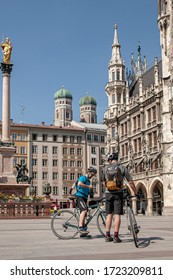 Munich, Germany - April 11 2020: The centre (old town) of Munich, Bavaria during Coronavirus quarantine time