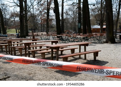 Munich, Germany - April, 11th, 2021: Closed beer garden