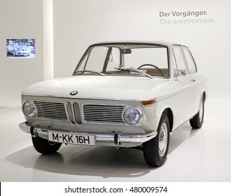 Munich, Germany - April 12, 2012: Display of BMW 1600 class coupe, year 1966 at BMW Welt in Munich, Germany