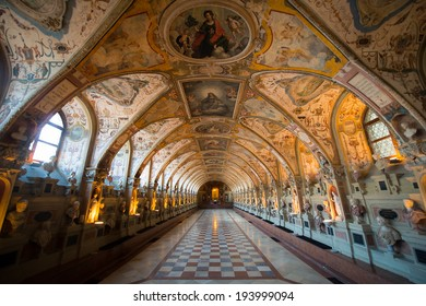 MUNICH, GERMANY - APRIL 12: Interior of the Antiquarium in the Munich Residence on April 12, 2014 in Munich, Germany. The Residence is the former royal palace of the Bavarian monarchs.