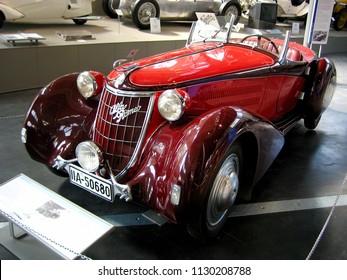 Munich, Germany - April 13, 2009. An Alfa Romeo 6C Gran Sport inside the Deutsches Car Museum.