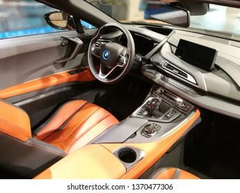 MUNICH, GERMANY - APRIL 14, 2019: 2019 electric BMW i8 showcased on the BMW Car Show in Munich