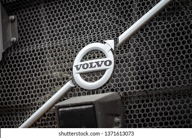 MUNICH / GERMANY - APRIL 14, 2019: Volvo emblem on a Volvo digger at construction site.