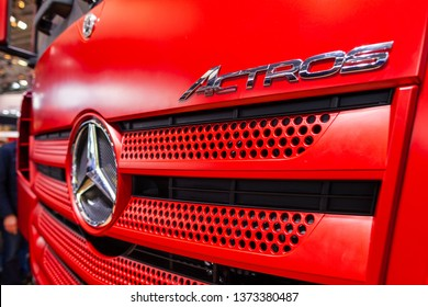 MUNICH / GERMANY - APRIL 14, 2019: Mercedes Benz Star on a Mercedes Benz Actros truck. Mercedes-Benz trucks are manufactured by the Daimler Trucks division (Daimler Trucks).