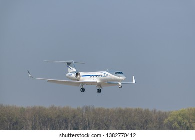 Munich, Germany - April 17. 2019 : Minebea Gulfstream Aerospace G-IV-X Gulfstream G450 with the aircraft registration N333MB is landing on the southern runway 8R of Munich Airport MUC EDDM