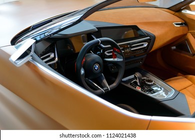 Munich, Germany - April 21, 2018: Interior of concept the third generation new model BMW Z4 convertible sportscar in G29 production version with retractable hardtop roof.