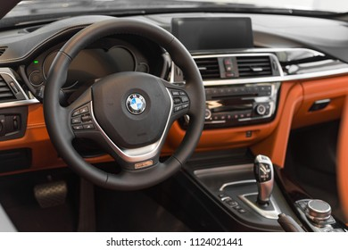 Munich, Germany - April 21, 2018: Interior of new flagship model of representative class BMW 750Li limousine in luxury G11/G12 sixth generation production version.