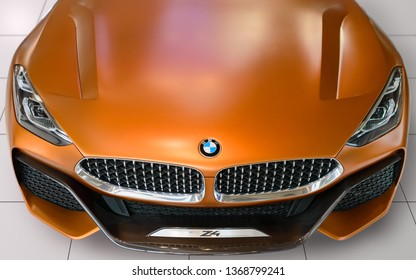Munich, Germany - April 21, 2018: Front view of BMW Z4 convertible sportscar new concept the third generation model in G29 production version with retractable hardtop roof.