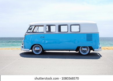 MUNICH, GERMANY - APRIL 22, 2018: vintage VW T1 BULLI showcased at the Munich Oldtimer Show in Munich, Germany on April 22, 2018