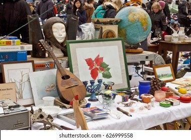 MUNICH, GERMANY - APRIL 22,2017 Munich, knickknack and kitsch, many different objects on sell at the open air giant flea market,the biggest flea market of Bavaria, just for one day in spring.
