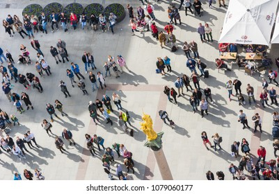MUNICH, GERMANY - APRIL 4: Aerial view over the Marienplatz in Munich, Germany on April 4, 2018. Crowds of people are at the square.
