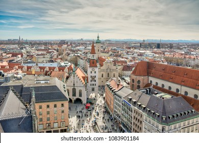 MUNICH, GERMANY - APRIL 4: Aerial view over the city of Munich, Germany on April 4, 2018. Crowds of people are at the square.
