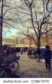 MUNICH, GERMANY - APRIL 5, 2018 - Spring view of Viktualienmarkt in Munich center, touristic attraction and market for gourmets