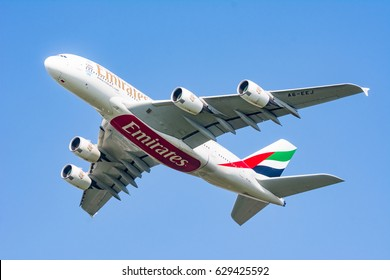 MUNICH, GERMANY - APRIL 9: Airbus A380 from Emirates airline after take off from the airport of Munich, Germany on April 9, 2017. The ariport has over 40 million passengers a year.