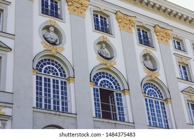 Munich, Germany - Aug 18, 2019: Details of nymphenburg palace, huge king residence in munich
