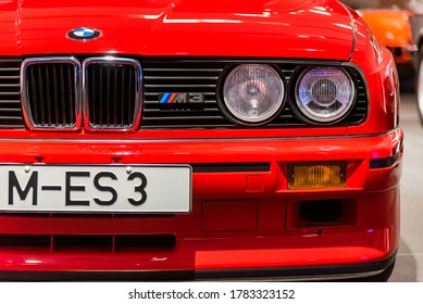 Munich, Germany - Aug 27, 2019 - Close up shot of BMW M3 E30 in the museum