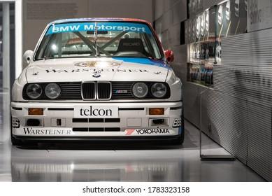 Munich, Germany - Aug 27, 2019 - Famous BMW M3 in a Munich showroom