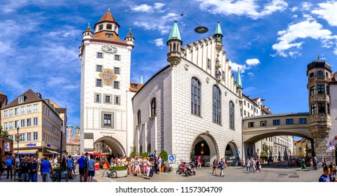 Munich, Germany -August 13: View of Viktualienmarkt a sunny day. It is a daily food market and a square in the center of Munich near Marienplatz on august 13, 2018