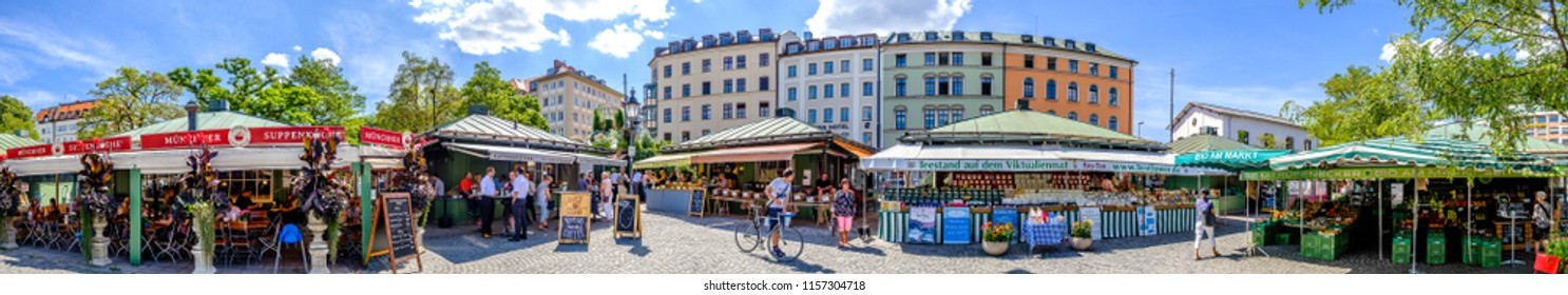 Munich, Germany -August 13: View of Viktualien markt a sunny day. It is a daily food market and a square in the center of Munich near Marienplatz on august 13, 2018