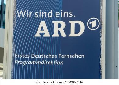 Munich, Germany - August 15, 2018: Wir sind eins Ard erstes Deutsches Fernsehen (We are one, first German television). Ard is a joint organisation of Germany's regional public-service broadcasters