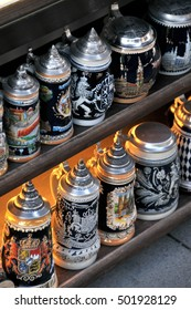 MUNICH, GERMANY - AUGUST 17, 2011: Typical beer mugs, in a tent city