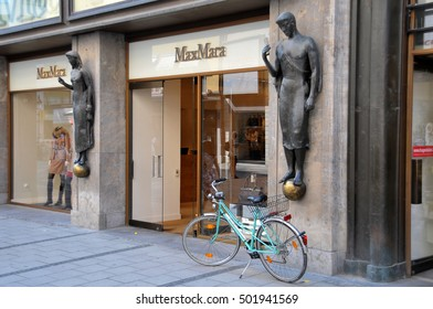 MUNICH, GERMANY - AUGUST 17, 2011: Decorative sculptures, in a building of the shopping area