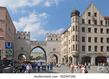 MUNICH, GERMANY - AUGUST 17, 2011: Karls Gate in the pedestrian zone in the city center
