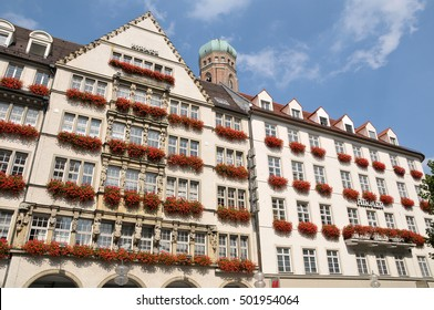 MUNICH, GERMANY - AUGUST 17, 2011: Nice building converted into a shopping center in the city center