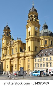 MUNICH, GERMANY - AUGUST 17, 2011: View of the Theatiner church in the city center