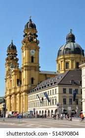 MUNICH, GERMANY - AUGUST 17, 2011: Theatiner church and buildings in the city center