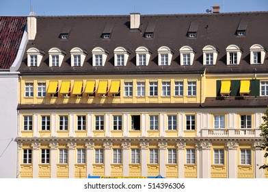 MUNICH, GERMANY - AUGUST 17, 2011: Classical facade of building with lots of windows