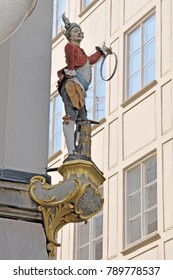 Munich, Germany - august 17, 2011: Representative figure of an ancient craftsmanship, on the facade of a building, in the historic center of the city