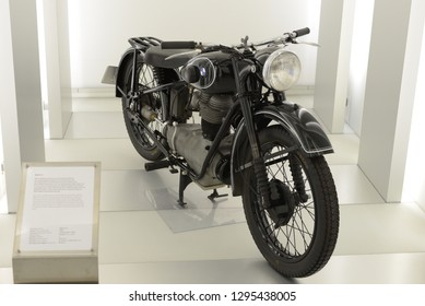 MUNICH, GERMANY - AUGUST 17, 2013:  BMW R24 classic German 1940s motorcycle in the BMW Museum