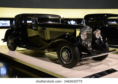 MUNICH, GERMANY - AUGUST 17, 2013: Rolls-Royce Phantom II Continental Fixed Head Coupe 1933 car by Gurney Nutting Coachbuilder chassis number 94MY luxury expensive 1930s car in the BMW Museum
