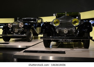 MUNICH, GERMANY - AUGUST 17, 2013: Rolls-Royce Phantom II Continental Touring Saloon 1934 car by Park Ward Coachbuilder luxury expensive 1930s British made vehicle chassis number 92PY at BMW Museum