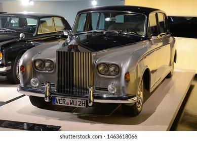 MUNICH, GERMANY - AUGUST 17, 2013: Rolls-Royce Phantom VI Limousine 1972 by H.J Mulliner Park Ward Coachbuilder chassis number PRX4714 classic luxury expensive 1970s car in the BMW Museum