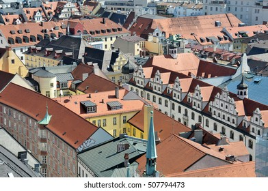 MUNICH, GERMANY - AUGUST 18, 2012: Houses and roofs in the center of the city, seen from the bell tower of the church of San Pedro