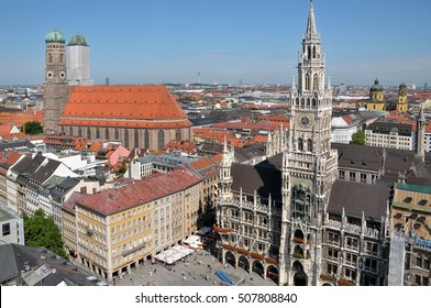 MUNICH, GERMANY - AUGUST 18, 2012: Aerial view of City Hall and the Frauen Kirche, from the bell tower of San Pedro