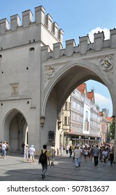 MUNICH, GERMANY - AUGUST 18, 2012: Door Karls Square in the commercial center of the city