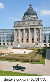MUNICH, GERMANY - AUGUST 18, 2012: Gardens and facade the main building of the Hofgarten