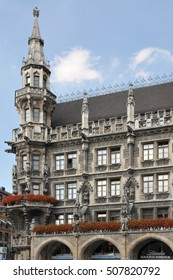 MUNICH, GERMANY - AUGUST 18, 2012: Detail of one of the towers of City Hall