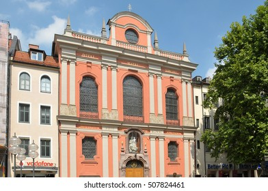 MUNICH, GERMANY - AUGUST 18, 2012: Detail of the facade of the church Burgersal in the commercial center of the city