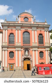 MUNICH, GERMANY - AUGUST 18, 2012: Burgersal Church in Neuhauser pedestrian street in the commercial center of the city