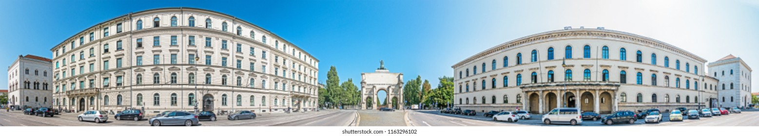 Munich, Germany - August 21: famous siegestor at the ludwig street in munich - germany on August 21, 2018