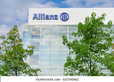 Munich, Germany - August 22, 2014: Modern headquarters and office building of Allianz SE insurance company and financial investment group