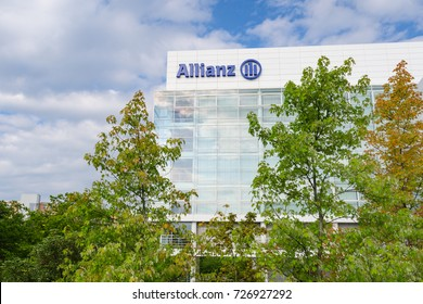 Munich, Germany - August 22, 2014: Allianz SE insurance company and financial investment group. Contemporary office and headquarters building in Munich.