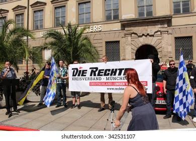 MUNICH, GERMANY - AUGUST 22, 2015: German rightist association (Die Rechte Kreisverband Munich) demonstrates against foreign refugees on Neuhauser street.