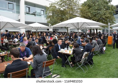 Munich, Germany - August 25, 2018: European Cardiologists Congress: Snack between lectures