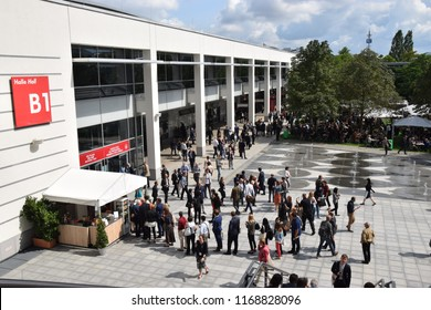 Munich, Germany - August 26, 2018: Courtyard of the Congress Center during the meeting of the European Society of Cardiology